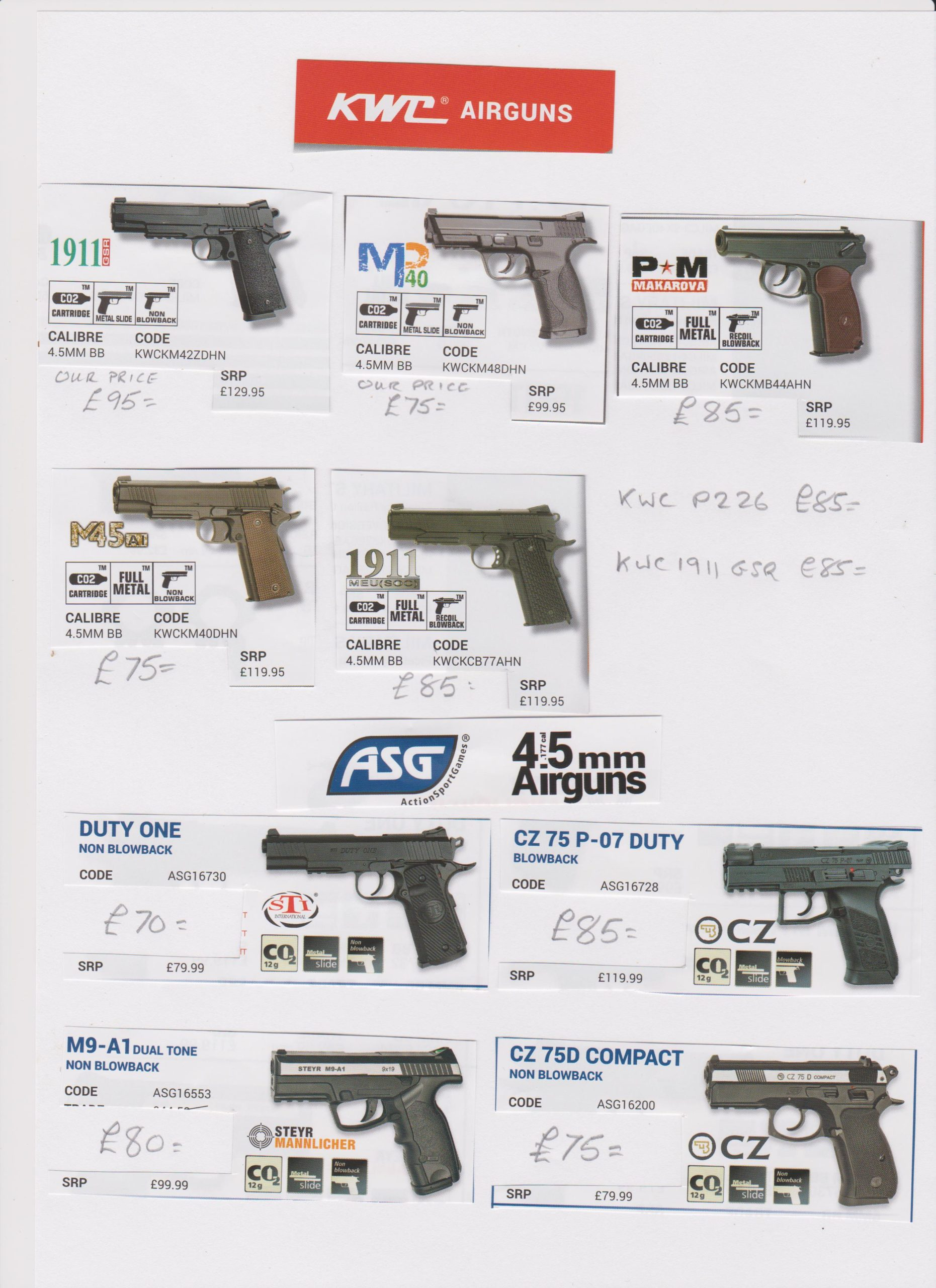 Kwc pistols we have in stock (PICTURES ON THE SMK WEB SITE) Image